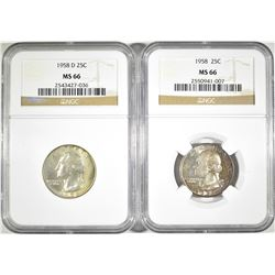 1958-P&D WASHINGTON QUARTERS, NGC MS-66 COLOR