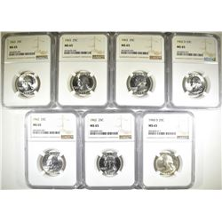 7 WASHINGTON QUARTERS ALL NGC MS-65