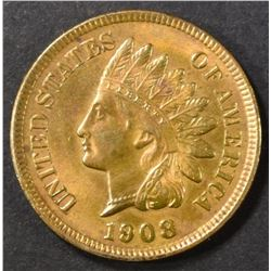 1908 INDIAN CENT   CH/GEM BU  RB