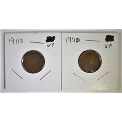 1911-D XF, & 11-S VF LINCOLN CENTS