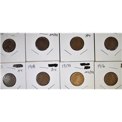 8 LINCOLN CENTS DATES IN THE TEENS