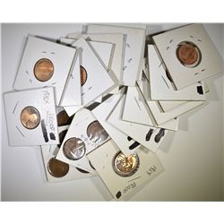 25 LINCOLN CENTS INCLUDING 12 PROOFS