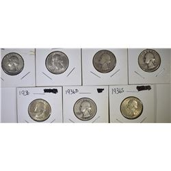 7 WASHINGTON QUARTERS 1932-36