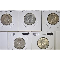 1937-P,D,S & 38-P,S WASHINGTON QUARTERS