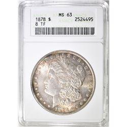 1878 8TF MORGAN DOLLAR ANACS MS 63