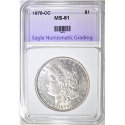 1878-CC MORGAN DOLLAR ENG BU