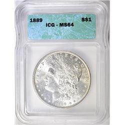 1889 MORGAN DOLLAR ICG MS64