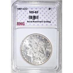 1891-CC MORGAN DOLLAR RNG CH BU