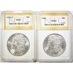 (2) MORGAN DOLLARS: 1896 NTC BU &