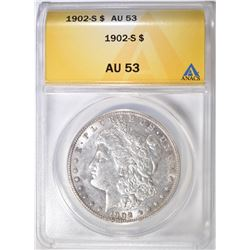 1902-S MORGAN DOLLAR ANACS AU 53