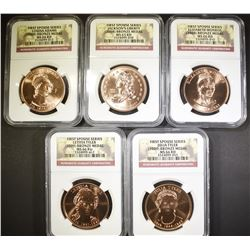 5-NGC GRADED FIRST SPOUSE BRONZE MEDALS