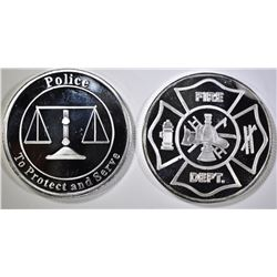 POLICE & FIRE ONE OUNCE .999 SILVER ROUNDS