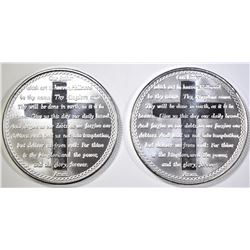 2-LORDS PRAYER ONE OUNCE .999 SILVER ROUNDS