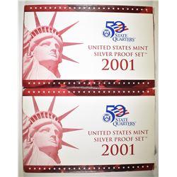 2-2001 U.S. SILVE RPROOF SETS IN ORIG PACKAGING