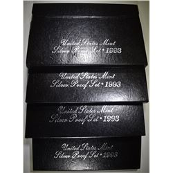4-1993 U.S. SILVER PROOF SETS ORIG PACKAGING
