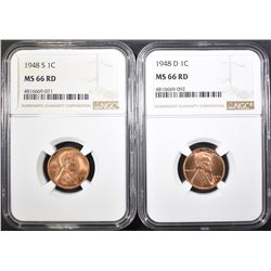 1948-D&S LINCOLN CENTS, NGC MS-66 RED