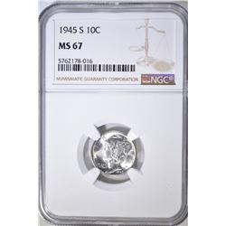 1945-S MERCURY DIME, NGC MS-67
