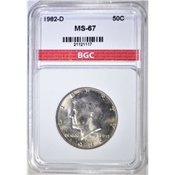 1982-D KENNEDY HALF DOLLAR, BGC SUPERB GEM BU