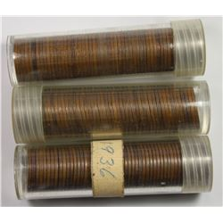 3 ROLLS WITH 50 COINS EACH: 1931-P LINCOLN CENTS