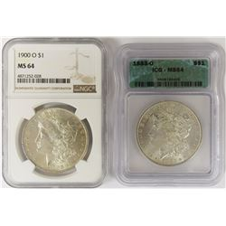 (2) MORGAN SILVER DOLLARS GRADED MS 64