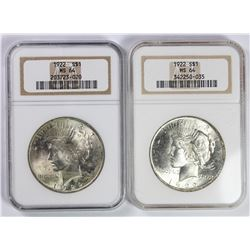 (2) 1922 PEACE SILVER DOLLARS