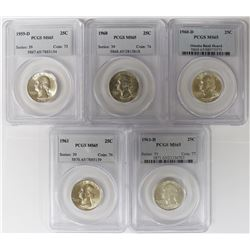 (5) PCGS GRADED WASHINGTON QUARTERS
