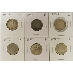 (6) LIBERTY SEATED QUARTERS