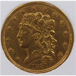 1837 $5 GOLD CLASSIC HEAD