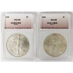 TWO 1996 AMERICAN SILVER EAGLES