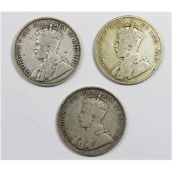 GROUP OF 3 CANADA HALF DOLLARS