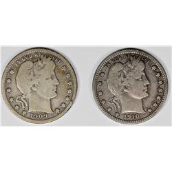 1909-S AND 1910 BARBER QUARTERS