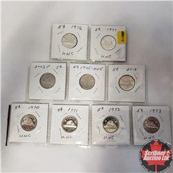 Canada Five Cent (9): 1970; 1971; 1972; 1973; 1976; 1977; 2003P; 1945-2005; 2011
