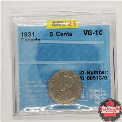 Canada Five Cent 1931 (CCCS Cert VG-10)