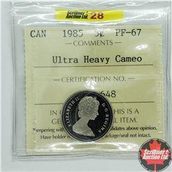 "Canada Five Cent 1985 (ICCS Cert ""Ultra Heavy Camo"" P67)"