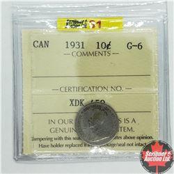 Canada Ten Cent 1931 (ICCS Cert G-6)