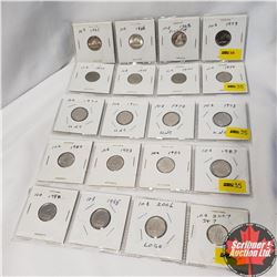 Canada Ten Cent  - 5 Strips of 4: 1965; 1966; 1968; 1979; 1972; 1973; 1974; 1977; 1970; 1971; 1972;