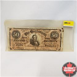 Vintage Reproduction Confederate States of America $50 Bill S/N#59204 (Note: Split)