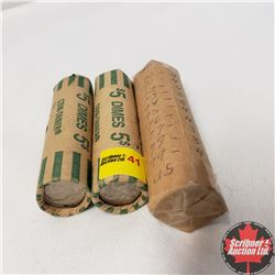US Coin Rolls (3): 1 Roll Nickels (1970's) AND 2 Rolls Dimes (Variety)
