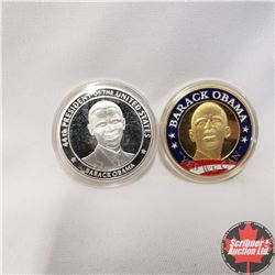 """2 Barack Obama  Medallions: """"In The White House"""" Color & """"Inauguration"""" Non-Color"""