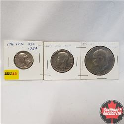 US Coins - Strip of 3: 1776-1976 Twenty Five Cent; 1971 Fifty Cent; 1776-1976 Silver Dollar