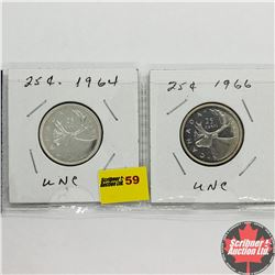 Canada Twenty Five Cent - Strip of 2: 1964; 1966