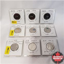 Canada Twenty Five Cent - 3 Strips of 3: 1969; 1971; 1973; 2011; 2011; 2011; 2002; 2009; 2012