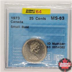 "Canada Twenty Five Cent 1973 (CCCS Cert ""Small Bust"" MS-63)"