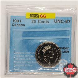 Canada Twenty Five Cent 1991 (CCCS Cert - UNC-67)