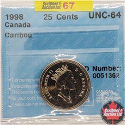 """Canada Twenty Five Cent 1998 (CCCS Cert """"Caribou"""" UNC-64)"""