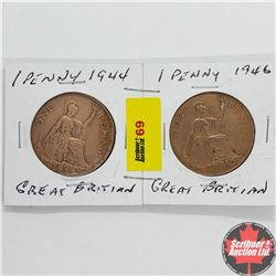Great Britain One Penny - Strip of 2: 1944; 1946