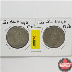 Great Britain Two Shillings - Strip of 2: 1967; 1956