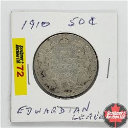 Canada Fifty Cent 1910 Ed Leaves