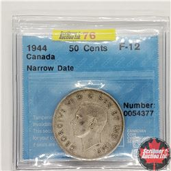 "Canada Fifty Cent 1944 (CCCS Cert ""Narrow Date"" F-12)"