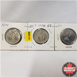 Canada Fifty Cent - Strip of 3: 1974; 1978SJ;  1984